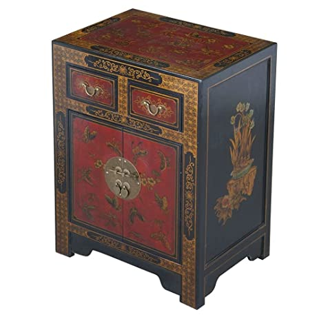 EXP Handmade Oriental Furniture 27-Inch Antique Style Black End Table with  Nature Motifs - Amazon.com: EXP Handmade Oriental Furniture 27-Inch Antique Style
