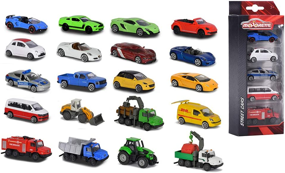 Majorette Street Cars - Set de 5 Coches de Juguete de Metal de 7.5 cm con Sistema de Rueda Libre, 4 Modelos Disponibles (Simba Toys 2053166)
