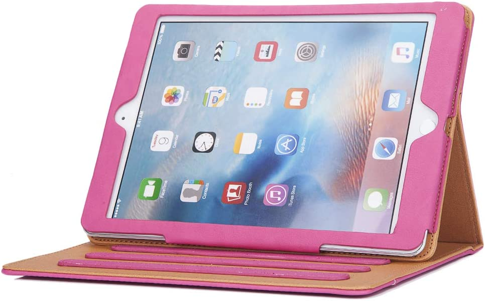 I4Ucase Apple iPad 9.7 Inch 2017/2018 (5th/6th Generation) Case - Soft Leather Stand Folio Case Cover for iPad 9.7 Inch, with Multiple Viewing Angles, Auto Sleep/Wake, Document Pocket (Pink)