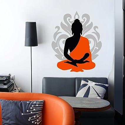 Decor kafe buddha wall stickers standard size pvc vinyl 68 cm x55 cm color