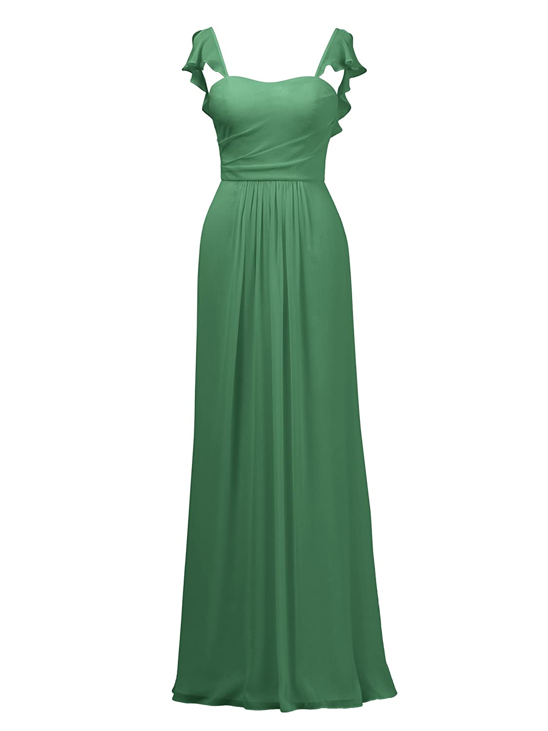 Emerald Alicepub Ruffles Bridesmaid Dress with Cap Sleeve Formal Evening Party Prom Gown