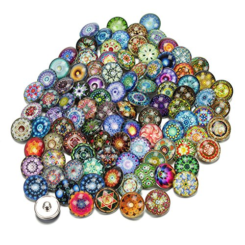 Soleebee BL001 Mixed Random 18mm Aluminum Glass Insight Guides Snap Button Jewelry Charms DIY Accessories (Pack of 100)]()