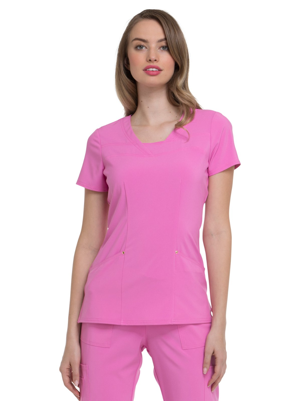 HeartSoul Love Always by Women's V-Neck Solid Scrub Top XX-Small Pink Me up