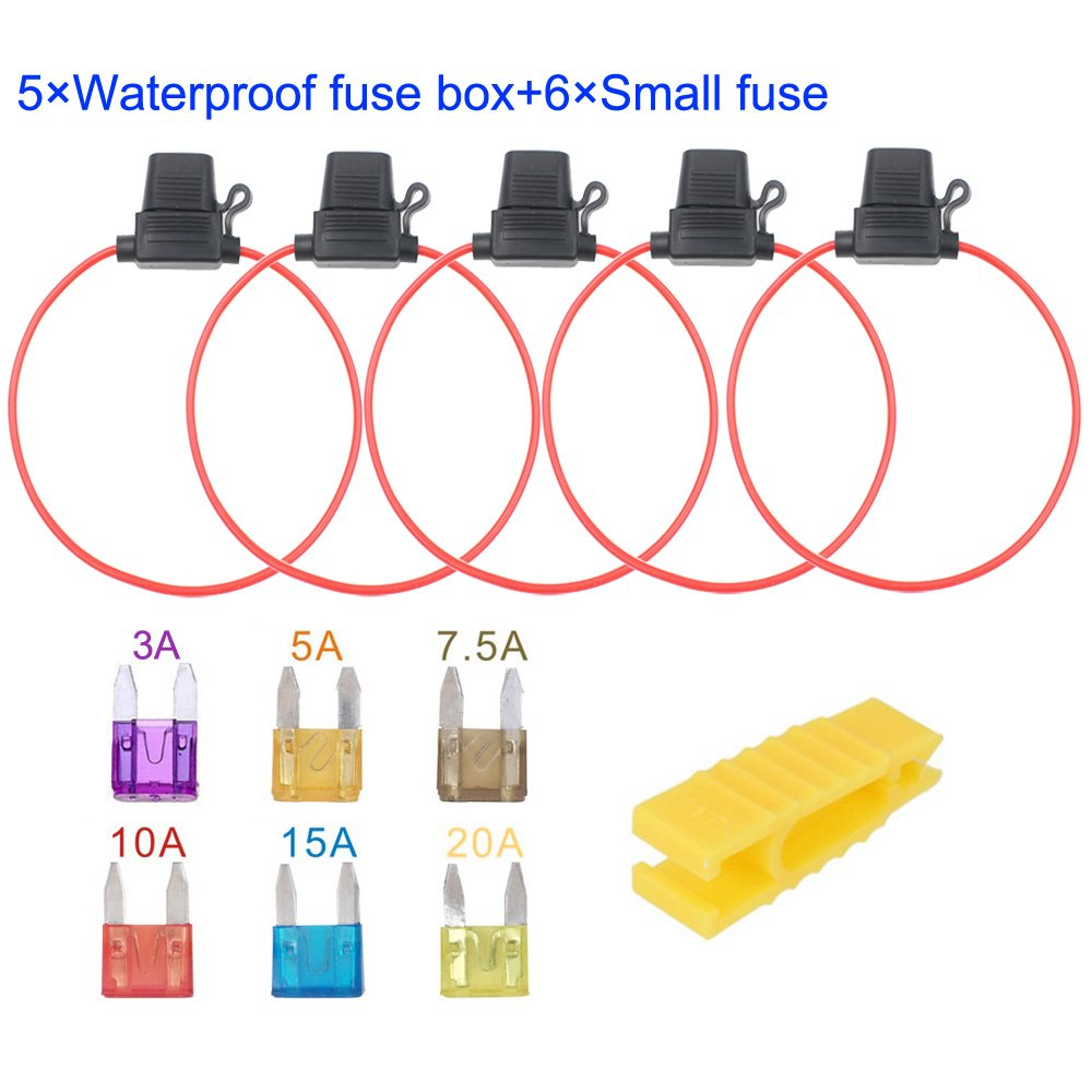 Gebildet 5pcs 32V 20A Waterproof Fuse Holder Plug Socket with 6pcs Small Blade Fuse 16 AWG ATC Blade Fuse Holder In-Line with a Cap