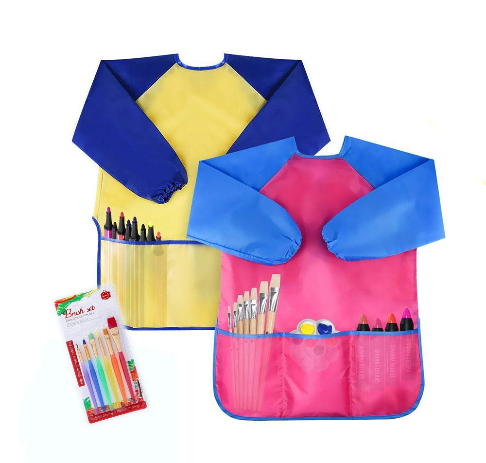 COCOScent Pack of 2 Kids Art Smocks, Children Waterproof Artist Painting Aprons Long Sleeve with 3 Pockets for Age 2-6 Years by(Including Brush Set)