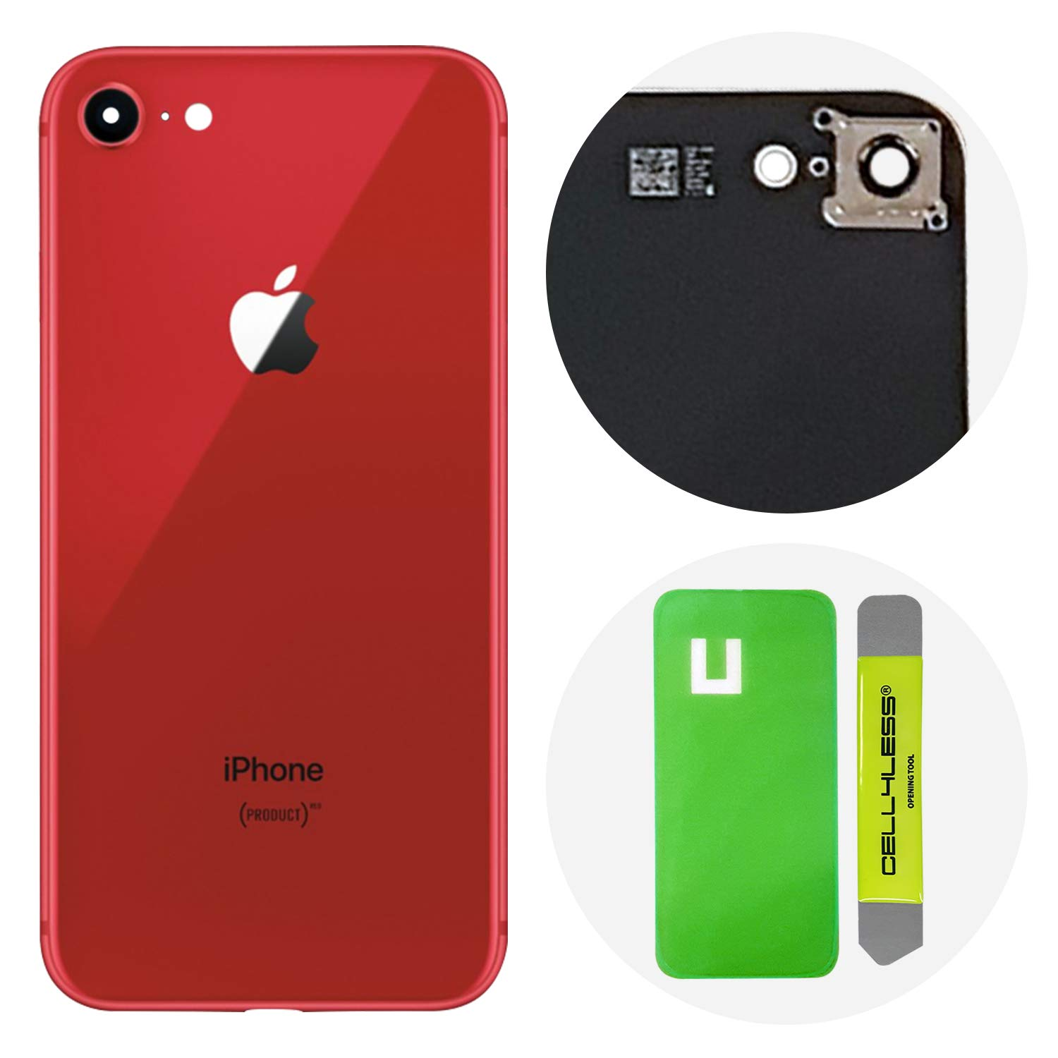 Adhesive /& Removal Tool for Apple iPhone 8 CELL4LESS Back Glass Cover OEM Battery Door Replacement w//Installed Camera Frame /& Lens Gold 8