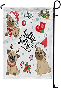 GROOTEY Welcome Garden Flag Home Yard Decorative 12X18 Inches Christmas Dogs Pugs Collection Inscription Holly Double Sided Seasonal Garden Flags Kids Christmas Flag