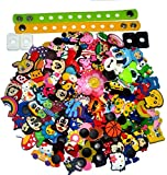 100 pcs PVC Different Shoe Charms for Croc + 2pcs Wristbands + 4pcs Shoe Lace Adapter for Sport/Casual shoes