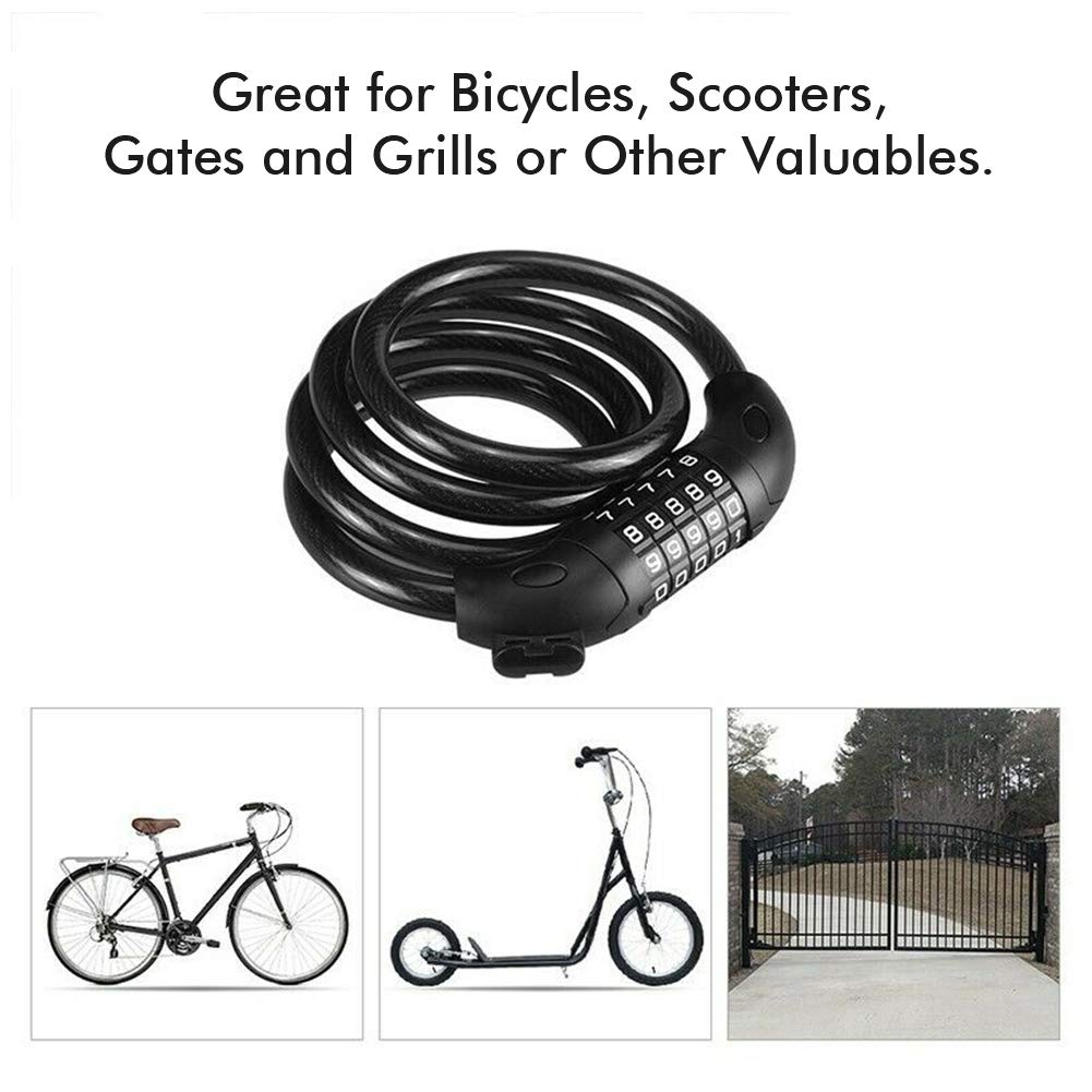 WISE TIGER WT-HM1303 Anti-Theft Bike Cable Lock, Self Coiling Resettable Combination 5-Digit Bicycle Locks High Security for Outdoor, Come with Complimentary Mounting Bracket,