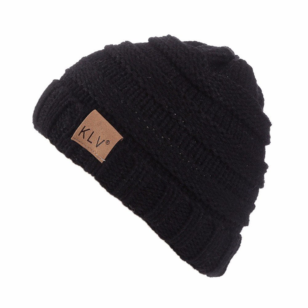 HULKAY Boy Girls Caps Premium Soft Stretch Winter Trendy Warm Wool Knitted Hat(Black)