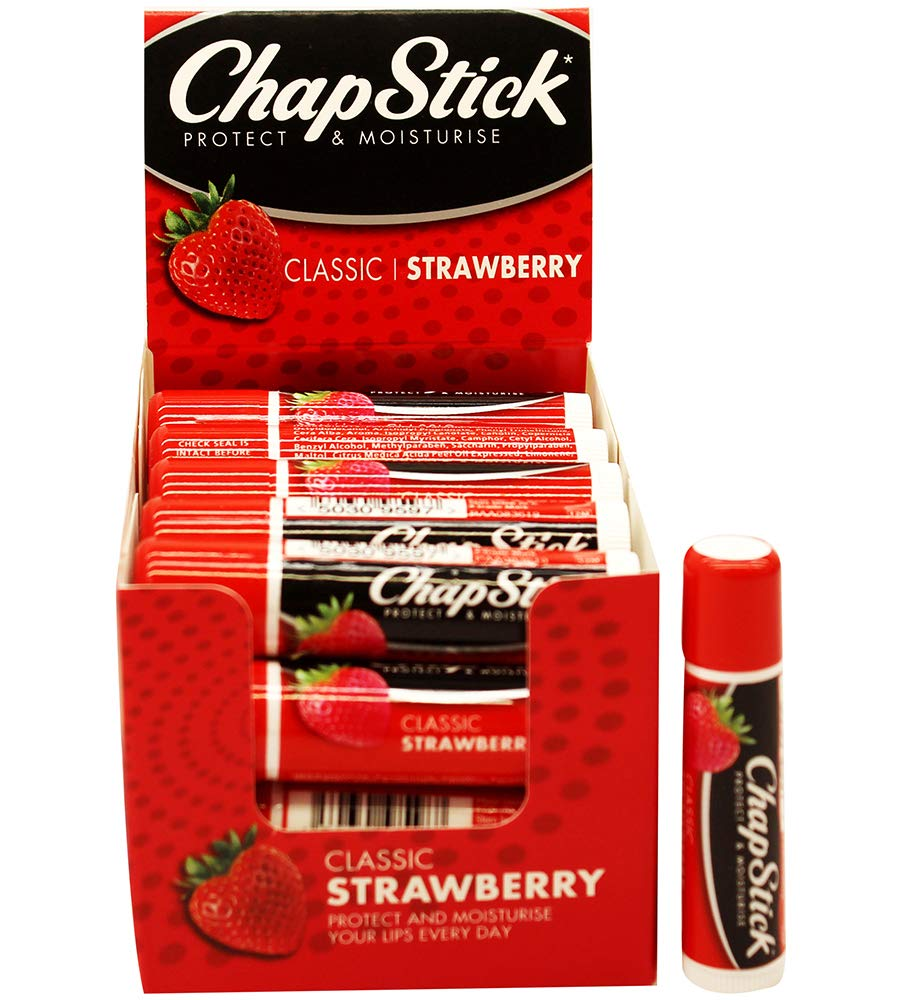Chapstick Classic Strawberry 0.15oz – Pack of 24 – Skin protectant moisturizer