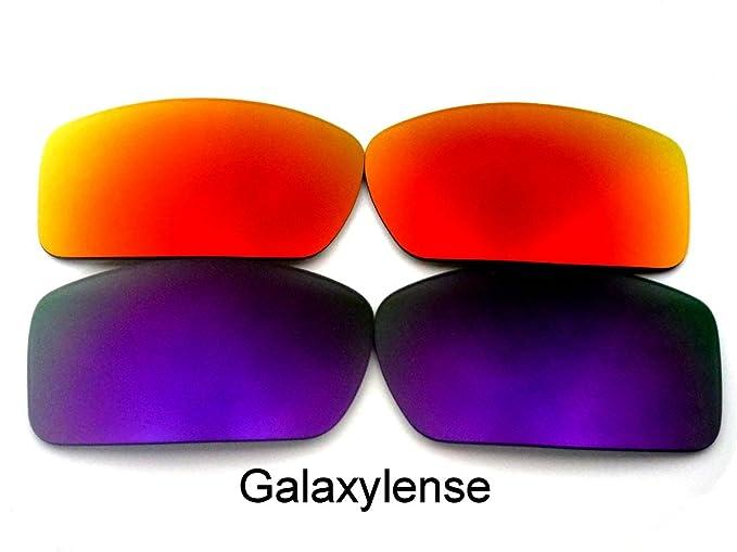 Galaxylense lentes de repuesto para Oakley Gascan morado y rojo Color Polarizados 2 Pares,GRATIS