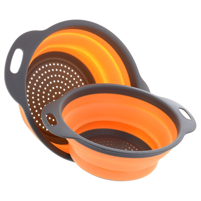 Collapsible Colander Set by Payanwin,2 Round Silicone Kitchen Strainer Set for Draining Pasta, Vegetable and fruit- 1 pcs 4 Quart and 1 pcs 2 Quart(Orange)