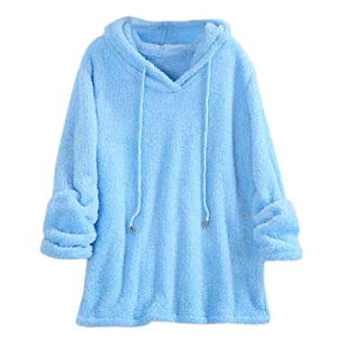 Beauty Top Polaire Femme Sweatshirt Manches Longues Peluche Sweat a Capuche  Hiver Couleur Sweat Tops Chemisier Chaud Pull Solid Pullovers Hoodie  Patchwork ... 288bbf7b374