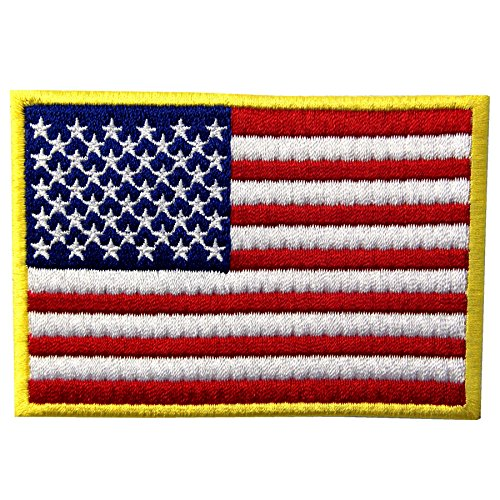 - EmbTao American Flag Embroidered Patch Gold Border USA United States of America Military Uniform Iron On Sew On Emblem