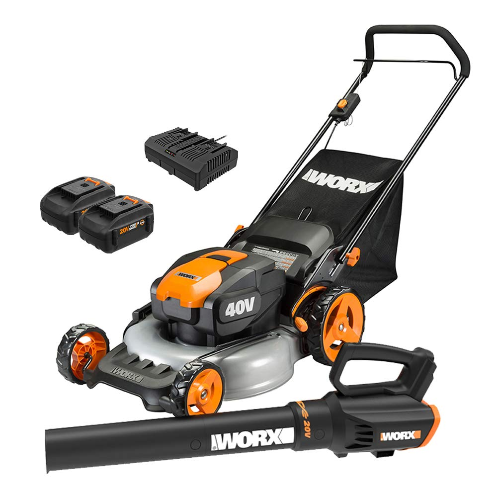 WORX WG960 20-inch 40V(5.0Ah) WG751 Cordless Lawn Mower and WG547.9 Power Share Cordless Turbine Blower by WORX