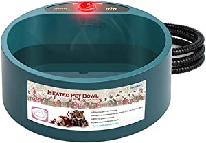 Abollria Pet Dog Bowl Food, Winter Heated Feed Cage Bowl, Constant Temperature Heating Thermostat Dog Basin, Food Bowls Dogs Electric Bowl, Pet Water Bowl for Cats, Dogs, Chickens, Ducks,etc