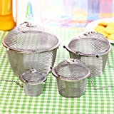 Chained Lid Spice Seasoning Bag Mesh Ball Shape Tea Filter Basket Infuser Tea Strainer Stainless Steel Kitchen Tools by Xiaolanwelc-Set of 4PCS