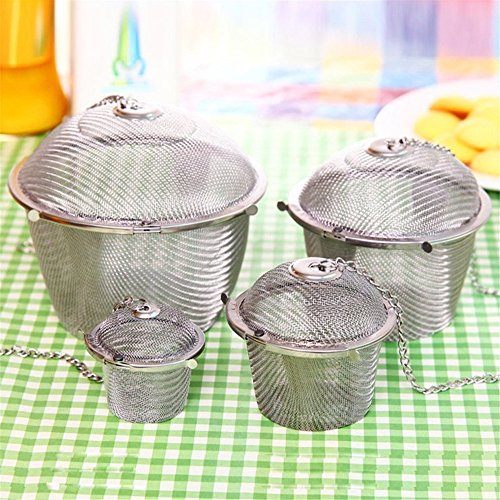 Chained Lid Spice Seasoning Bag Mesh Ball Shape Tea Filter Basket Infuser Tea Strainer Stainless Steel Kitchen Tools by Xiaolanwelc-Set of 4PCS by Xiaolanwelc
