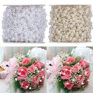 10 Meters/Lot Fishing Line Artificial Pearls Beads Chain Garland Flowers for Wedding Bridal Bouquet Flower Decor 13