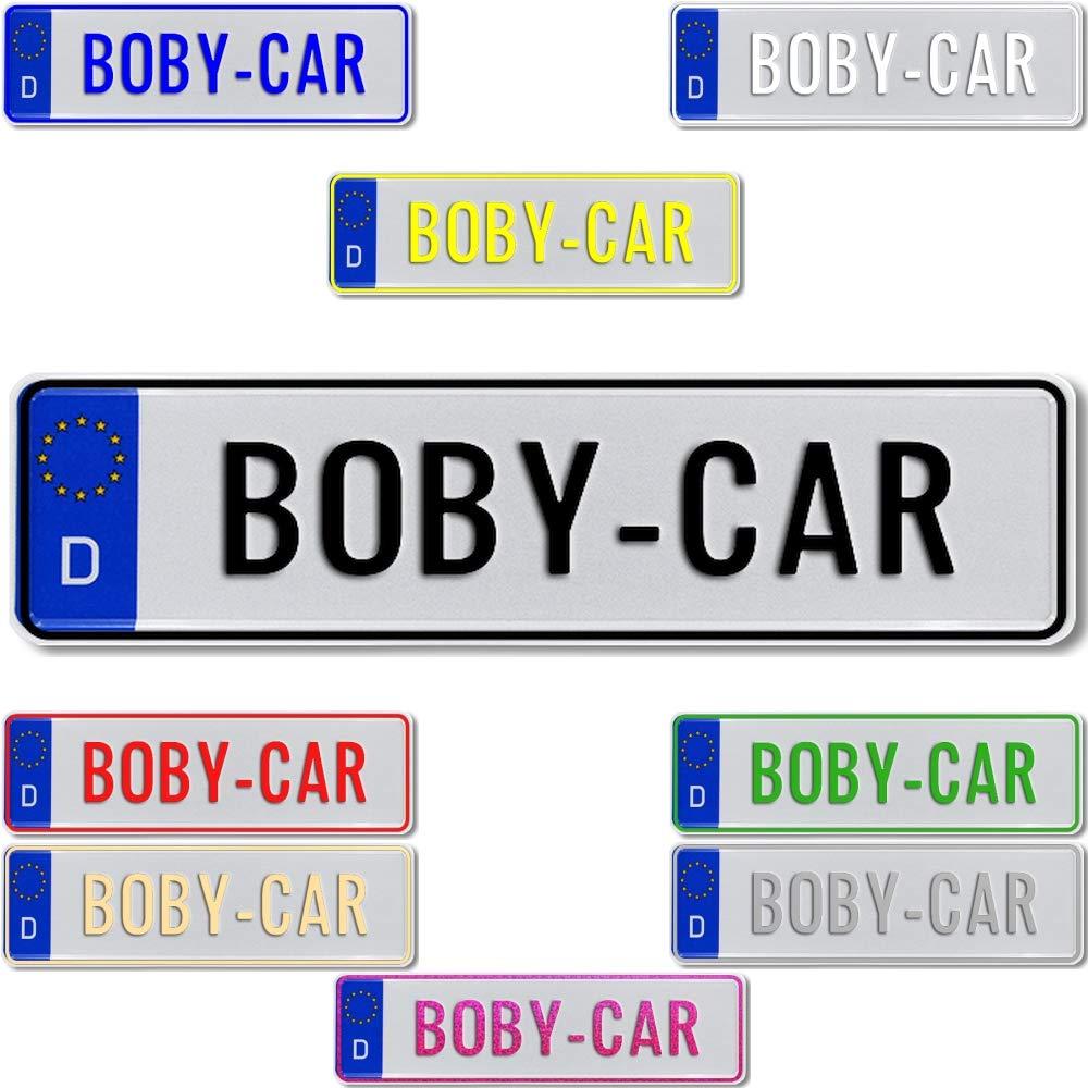 TEILE-24.EU Malinowski Bobbycar Kettcar Tretauto Namensschild Junior Kennzeichen Kidsplate nach ihrem Wunsch gepr/ägt Gr/ö/ße 340mm x 90mm