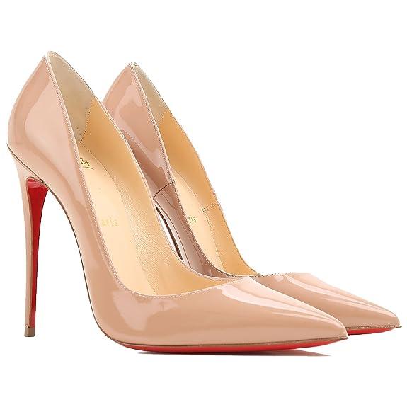 7aa59ea8ffba1 Christian Louboutin Mujer 3130694Pk1a Beige Cuero De Charol Zapatos Altos   Amazon.es  Zapatos y complementos