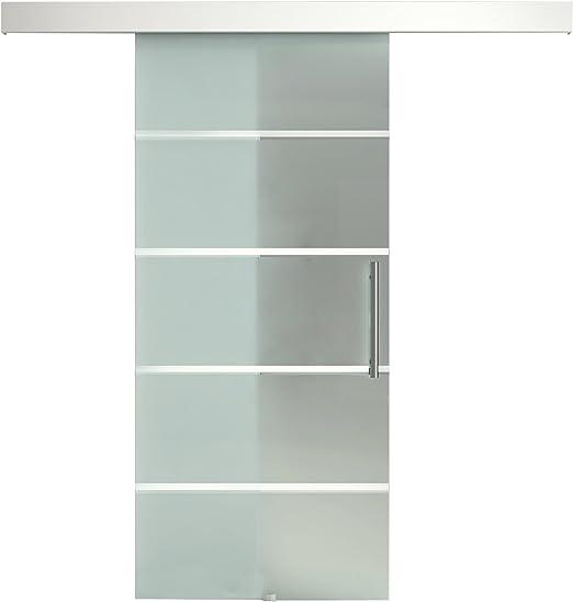 Homcom - Puerta corredera de cristal a rayas con riel de aluminio, 75 x 210 cm: Amazon.es: Jardín