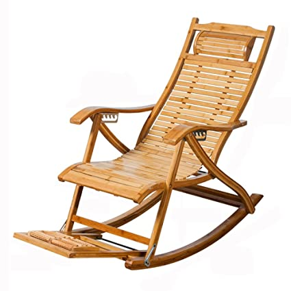 Amazon.com : Feifei Lazy Chair Solid Wood Collapsible Old Man Siesta ...