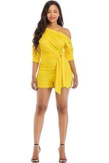 e756425da92 Veroge Women s Sexy One Shoulder High Waisted Wide Leg Jumpsuit with Belt ¡