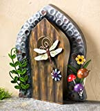 Plow & Hearth Miniature Fairy Garden Painted Metal Dragonfly Decorative Door Accent, 7 L x 1.75 W x 8 H