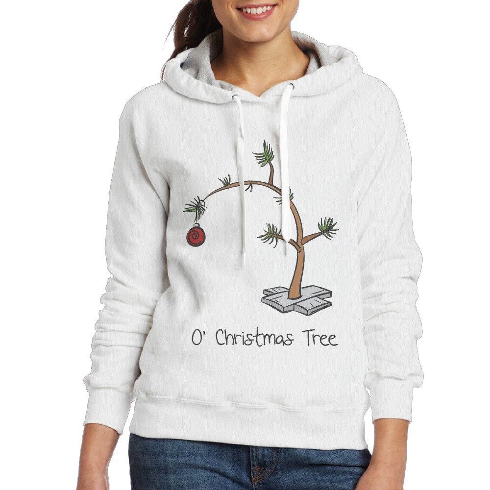 Women Hoodie Christmas Tree Crew Neck Long Sleeve Sweatshirt