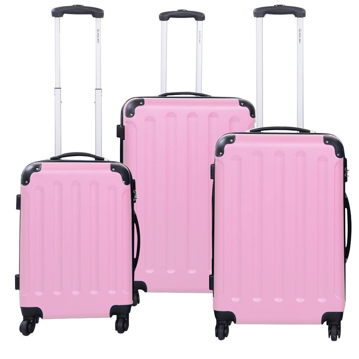 3 Pcs Luggage Travel Set Bag ABS+PC Trolley Suitcase Pink
