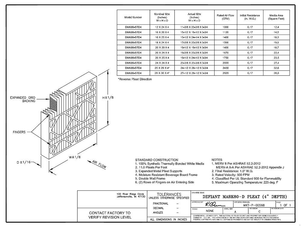 Pack of 6 12 W x 24 H x 4 D Sterling Seal DM-FI5257510289 Purolator Defiant Mark 80-D Extended Surface Pleated Air Filter Mechanical Merv: 8