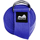 Reehut Fitness Exercise Yoga Strap (6ft) w/ Adjustable D-Ring Buckle for Stretching, Flexibility and Physical Therapy (Blue)