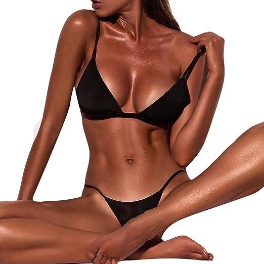 7a151dd809a9c Fanteecy Women s Sexy Bikini Sets Push up Padded Swimsuit Triangle Swimwear  High Leg Thong Bathing Suits