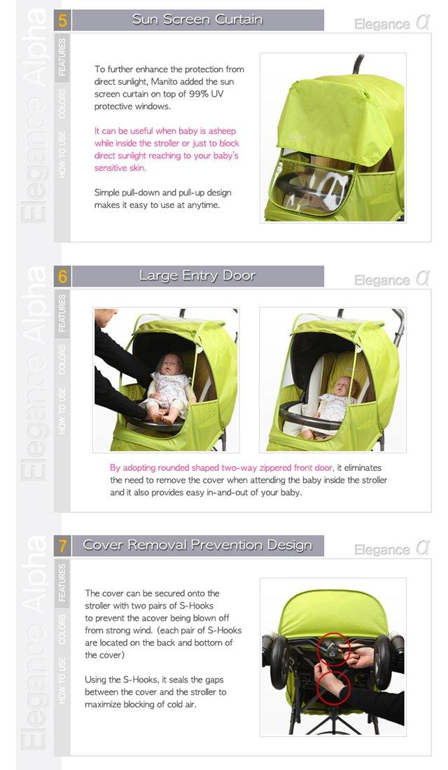 5 Farben erh/ältlich Manito Elegance Alpha Regenschutz f/ür Kinderwagen