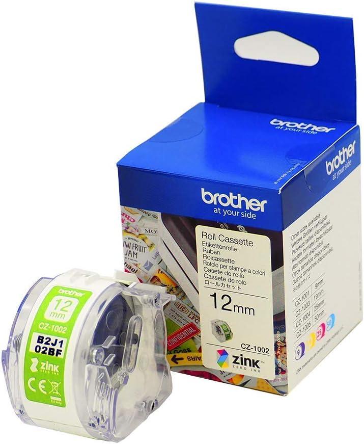 Brother Cz 1002 Farbetikettenrolle 12 Mm Breit 5 M Lang Für Etikettendrucker Vc 500w Bürobedarf Schreibwaren