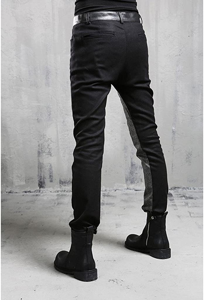 MOKEWEN Mens Asymmetric Color Block Patch Zipper Casual Pants