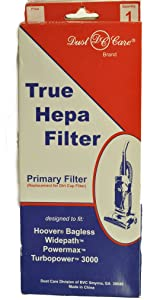 Hoover Primary True Hepa Filter for Model U5344, Bagless Widepath, Powermax, Turbo Power 3000, Dust Care Replacement Brand, Designed to fit Upright Vacuum Cleaners, Filter is for dust Cup Replacement