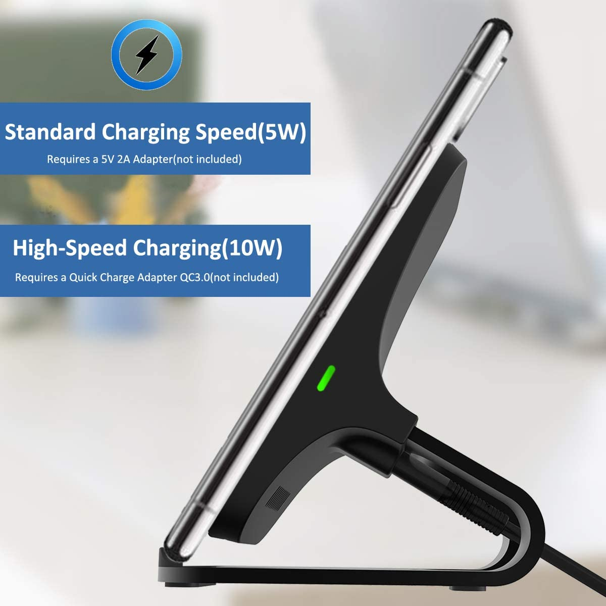5W All Qi-Enabled Phones 10W Fast-Charging Galaxy Note 10//S10//S10+//S10E No AC Adapter WGGOU Qi-Certified Wireless Charger 7.5W Compatible iPhone Xs Max//XR//XS//X//8//8 Plus