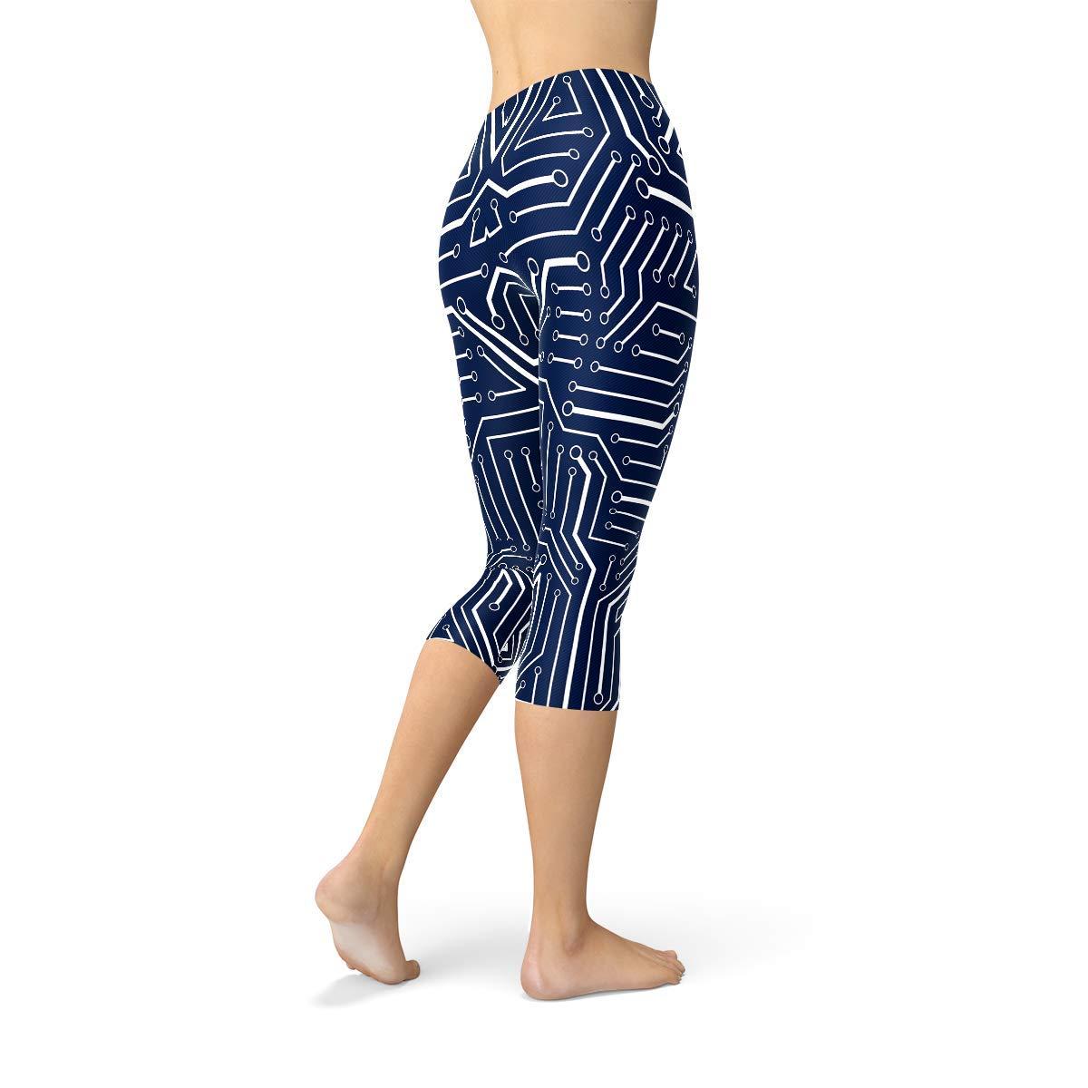 Satori Stylez Robot Capri Leggings Navy Blue Cosplay Cyborg Circuitry Yoga Pants for Women