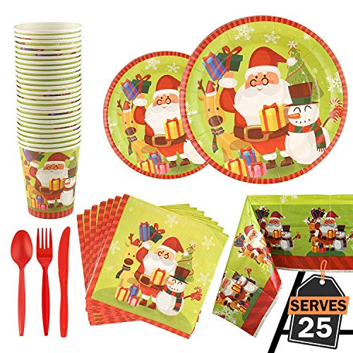 176 Piece Christmas Party Set Including Plates, Cups,