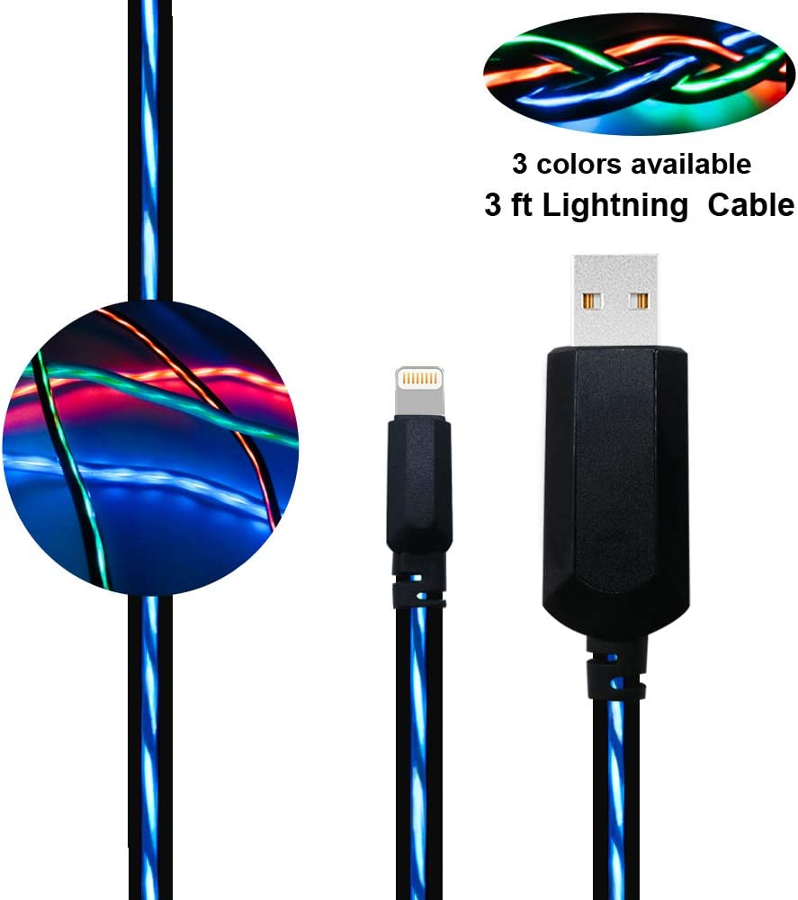 Led iPhone Charger, BUSOH Led iPhone Charging Cable, 3 Feet Flowing Led Quick Charger for iPhone Xs/X/XR/Max/8/7/6/Plus/5 (Flowing Navy)