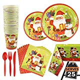 176 Piece Christmas Party Set Including Plates, Cups, Spoon and Fork, Knives, Napkins, Tablecloth