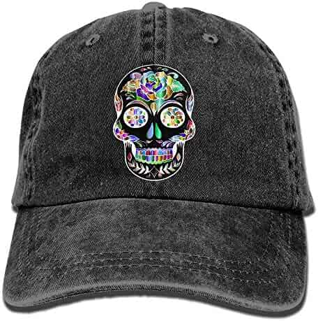 Adults Prismatic Sugar Skull Adjustable Casual Cool Baseball Cap Retro  Cowboy Hat Cotton Dyed Caps f092ce83e45a