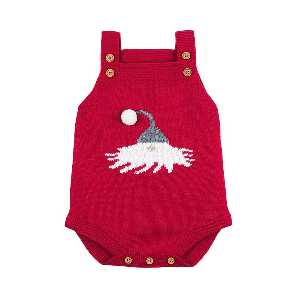 Fuibo Baby Jungen Mädchen Weihnachtsstrick Kleidung, Neugeborenes Baby-ärmelloses Karikatur-Weihnachtsstrickspielanzug-Overall-Kleidung ❤◆❤Ärmellänge: Ärmellos