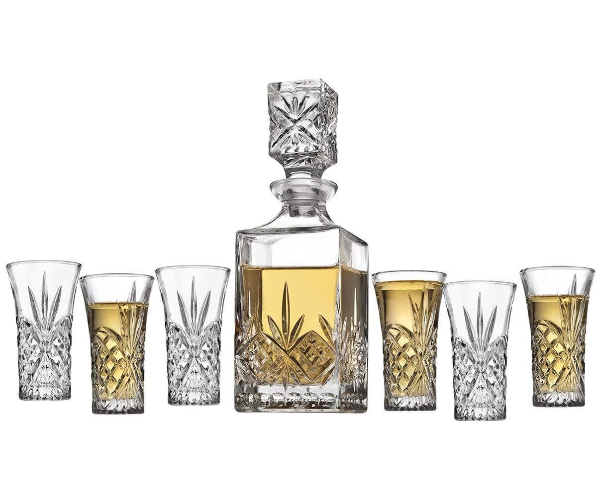 Godinger Mini Whiskey Decanter and Shot Glasses Barware Set - 10oz Decanter for Scotch Wine or Vodka - Dublin Collection