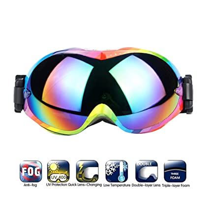 Amazon.com: Gafas de esquí de doble capa antivaho para ...