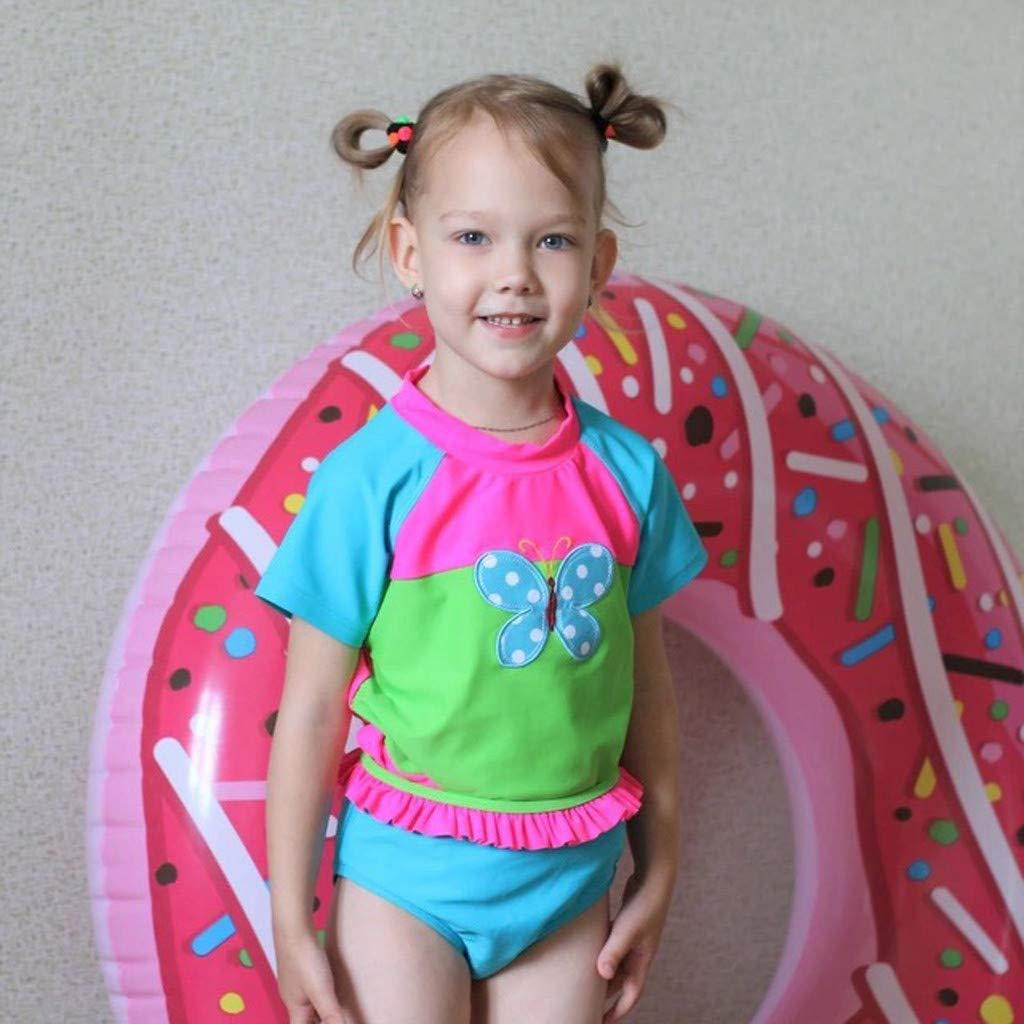 Butterfly Beach Swimsuit+Shorts Swimwear Set Outfit GorNorriss Girls Little Swim Suit Set with Short Sleeve Rashguard