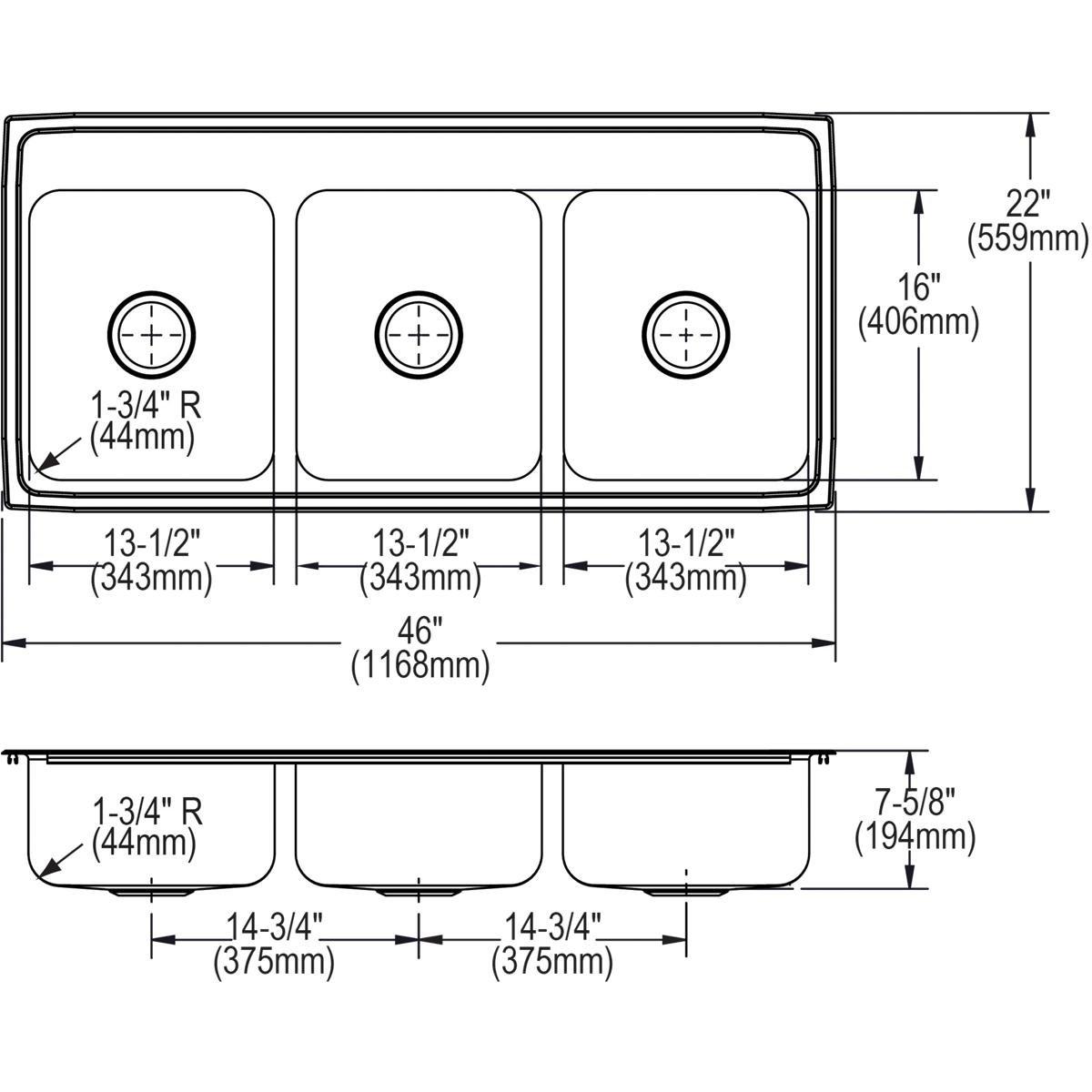 Elkay Lustertone LTR46226 Triple Bowl Top Mount Stainless Steel Kitchen Sink by Elkay (Image #7)
